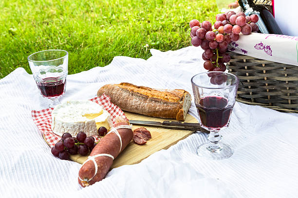 Picnic basket, salami, cheese, baguette, wine and grapes on blanket stock photo