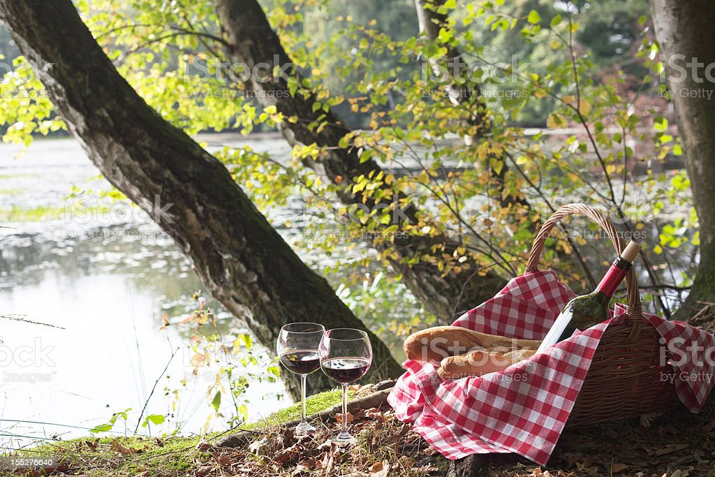 Picnic Basket with baguettes and wineglasses under trees at lake royalty-free stock photo
