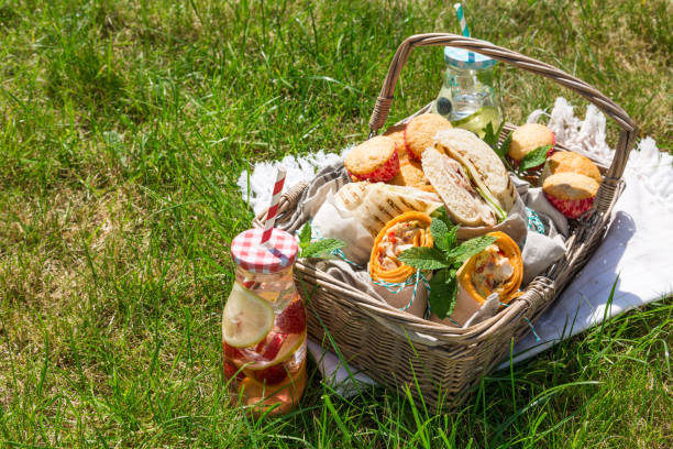 Picnic basket with food on green sunny lawn stock photo