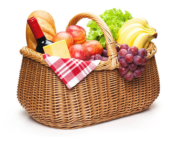 Picnic basket with food. stock photo