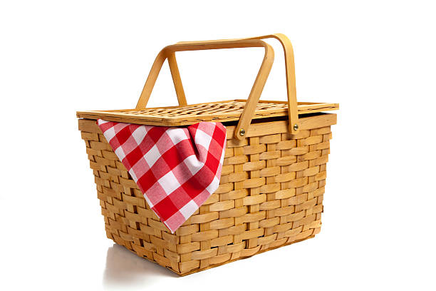 Picnic basket with gingham isolated on a white background stock photo