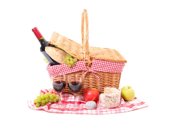 picnic basket with wine and bread stock photo
