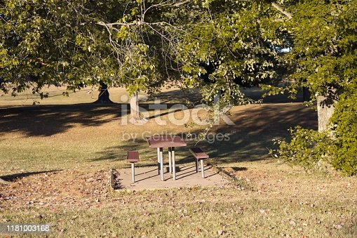 1048926386 istock photo Picnic bench in a park 1181003168