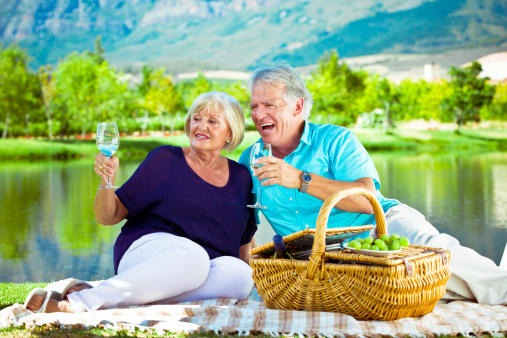 Picnic By The Lake Stock Photo - Download Image Now