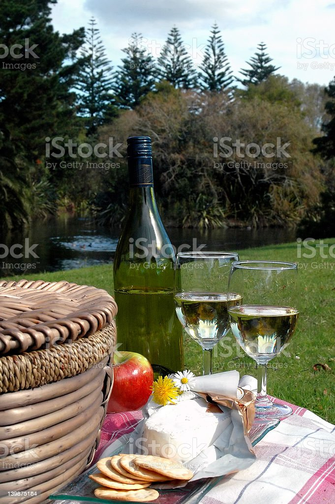Picnic by the Pond royalty-free stock photo