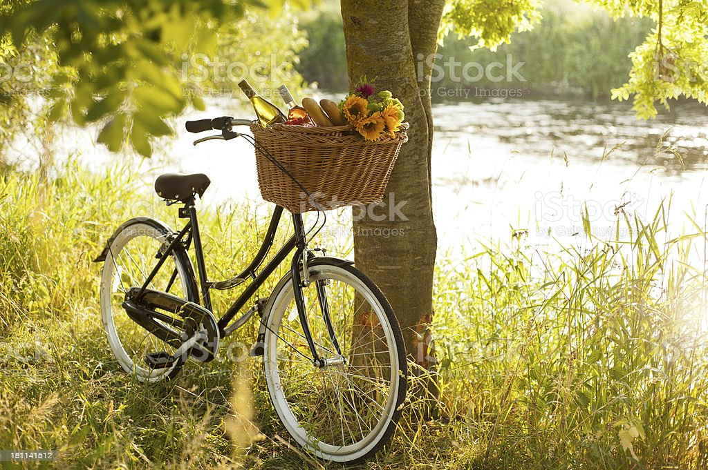 Picnic by the river stock photo