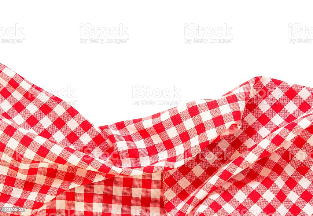 Picnic cloth frame isolated. stock photo