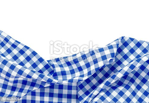 Kitchen blue  picnic red cloth frame isolated on white background.