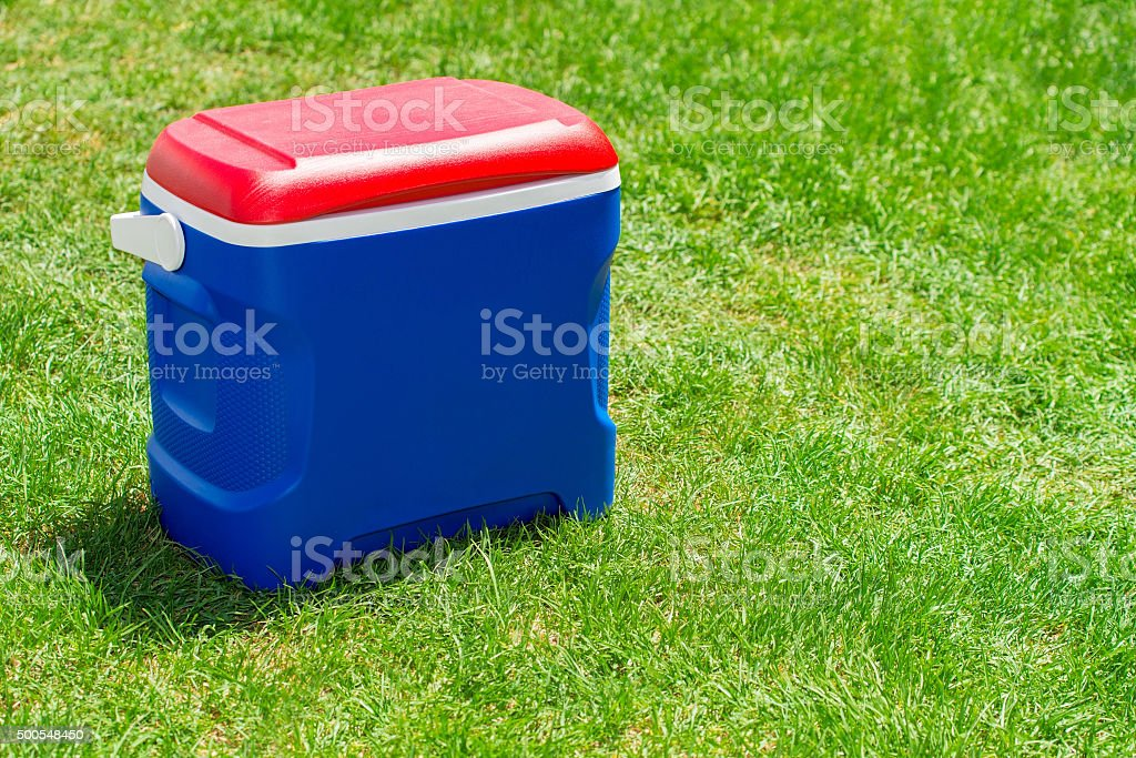 Picnic cooler box stock photo