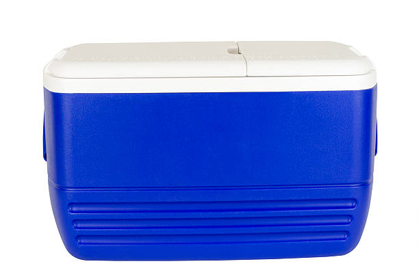 Picnic Cooler Blue picnic cooler isolated on white. cooler container stock pictures, royalty-free photos & images
