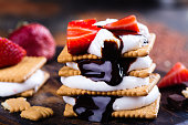 istock Picnic dessert smores with marshmallow, graham crackers, strawberry and chocolate sauce 801239580