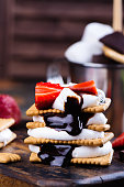 istock Picnic dessert smores with marshmallow, graham crackers, strawberry and chocolate sauce 801239602