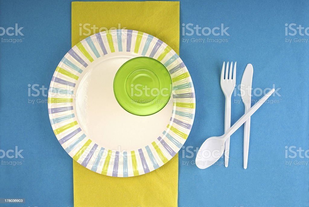 Picnic disposable dishware setting royalty-free stock photo
