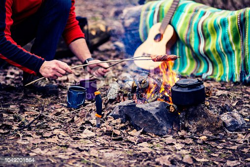istock Picnic in a forest - man toasts the sausages at the campfire 1049201864