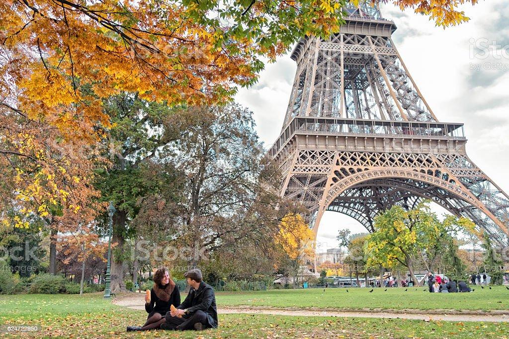 Picnic in Paris stock photo