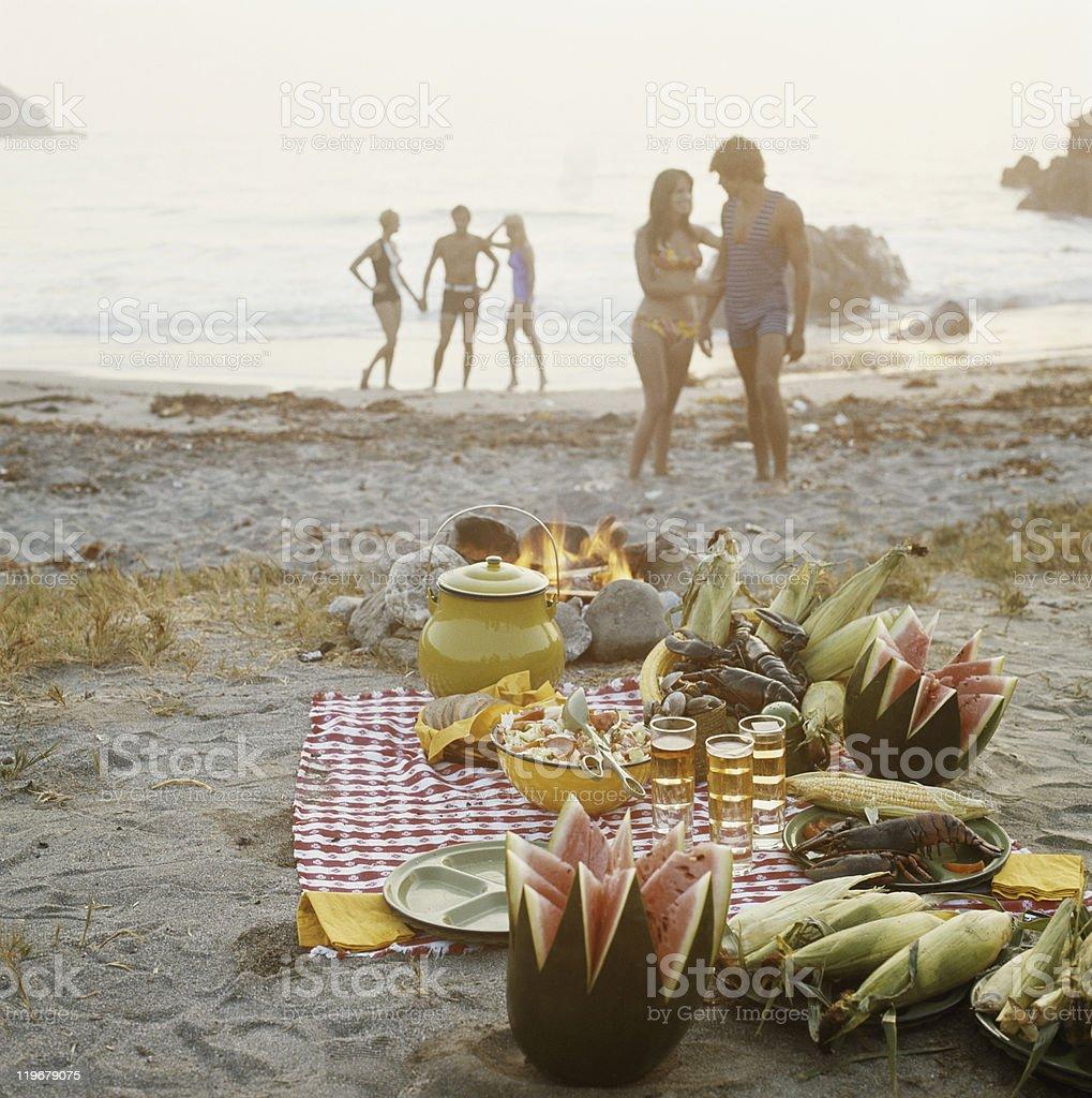 Picnic on beach stock photo