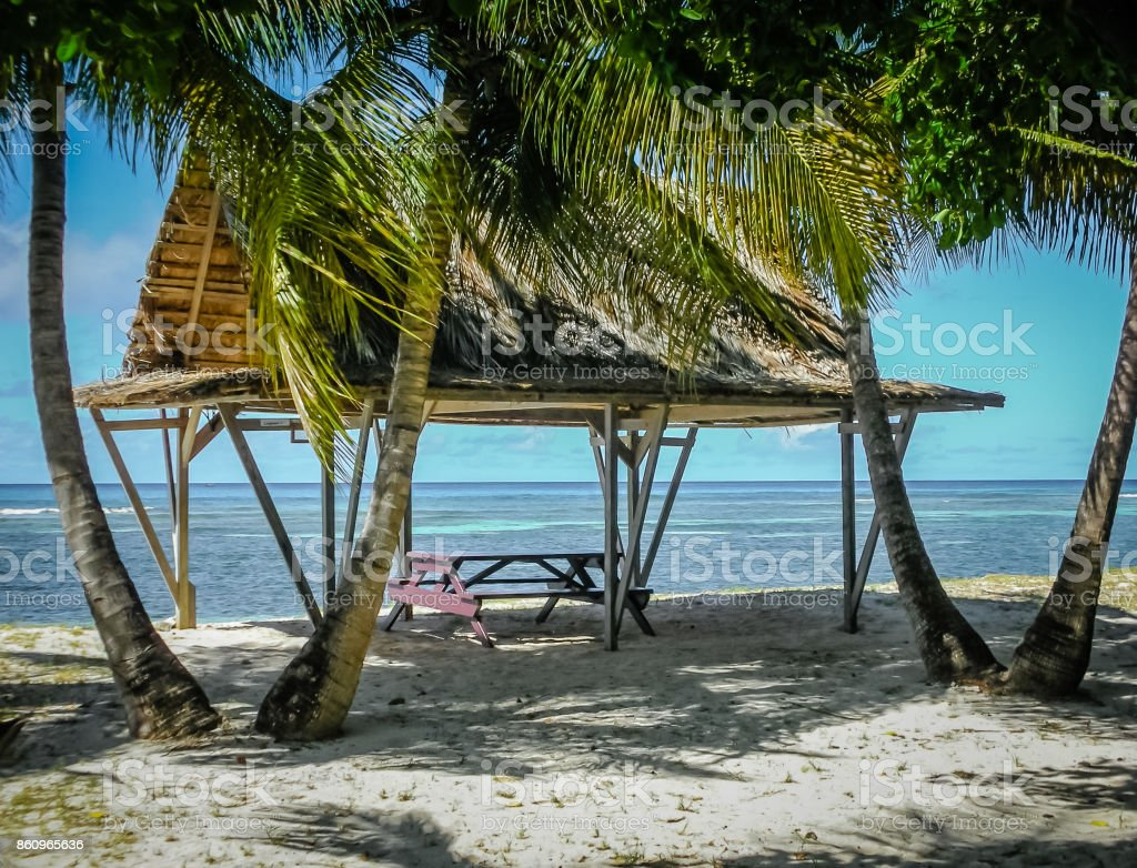 Picnic on Mustique Island stock photo
