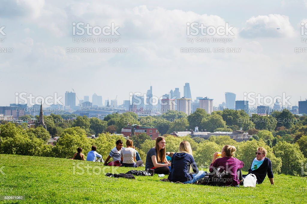 Picnic on Primrose Hill London UK stock photo
