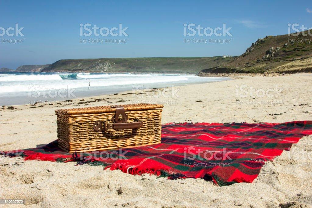 Picnic on the beach stock photo