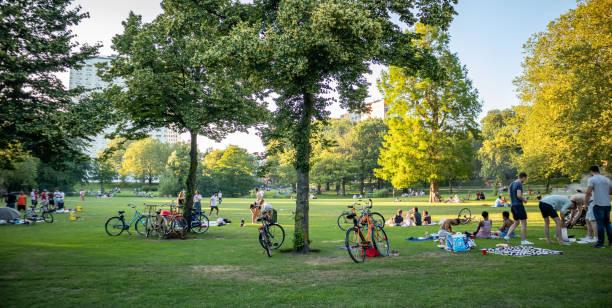 Picknick auf dem Rasen, Menschen entspannen, Rotterdam, Niederlande – Foto