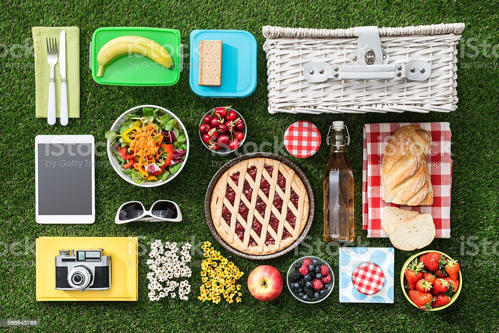 Picnic on the grass stock photo