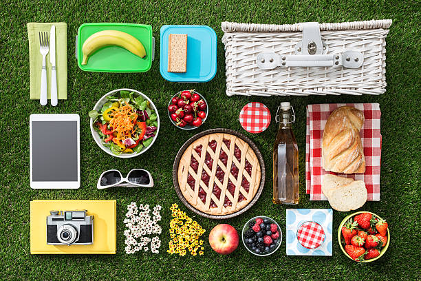 picnic on the grass - picnic stock pictures, royalty-free photos & images