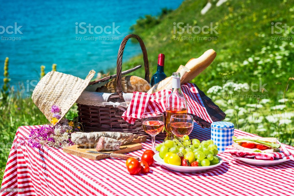 Picnic On The Grass Stock Photo & More Pictures of