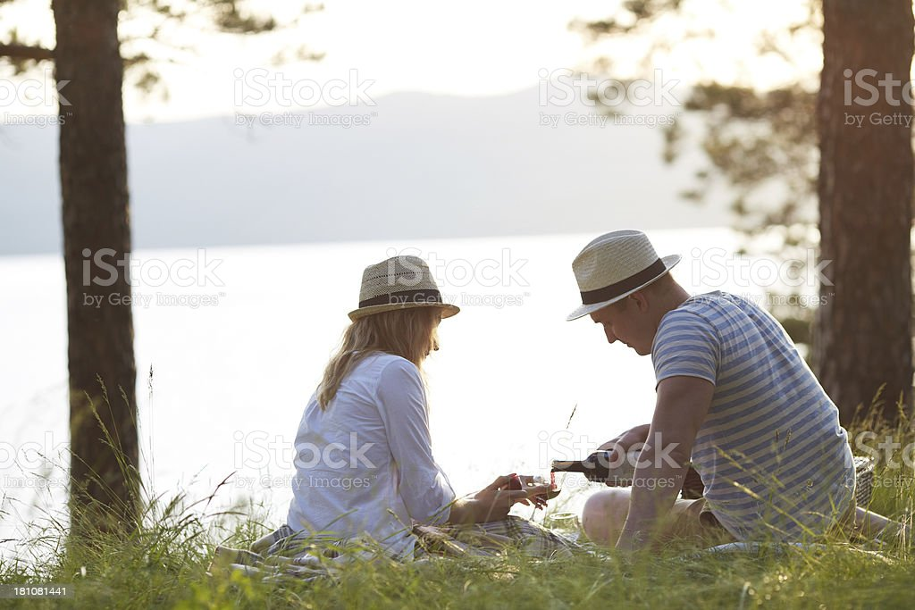 Picnic outdoors royalty-free stock photo