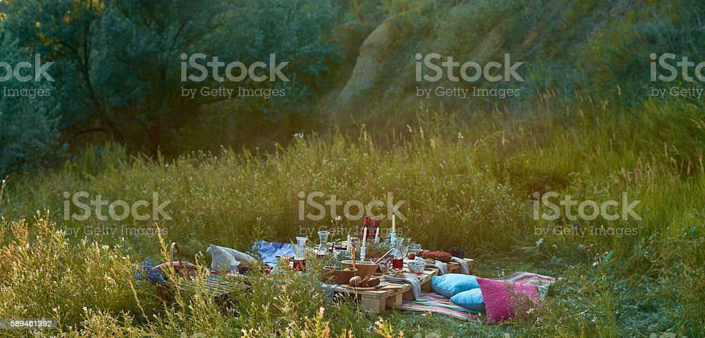 Picnic outdoors stock photo