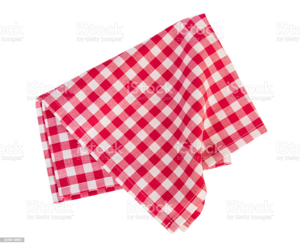 Picnic red cloth isolated. stock photo