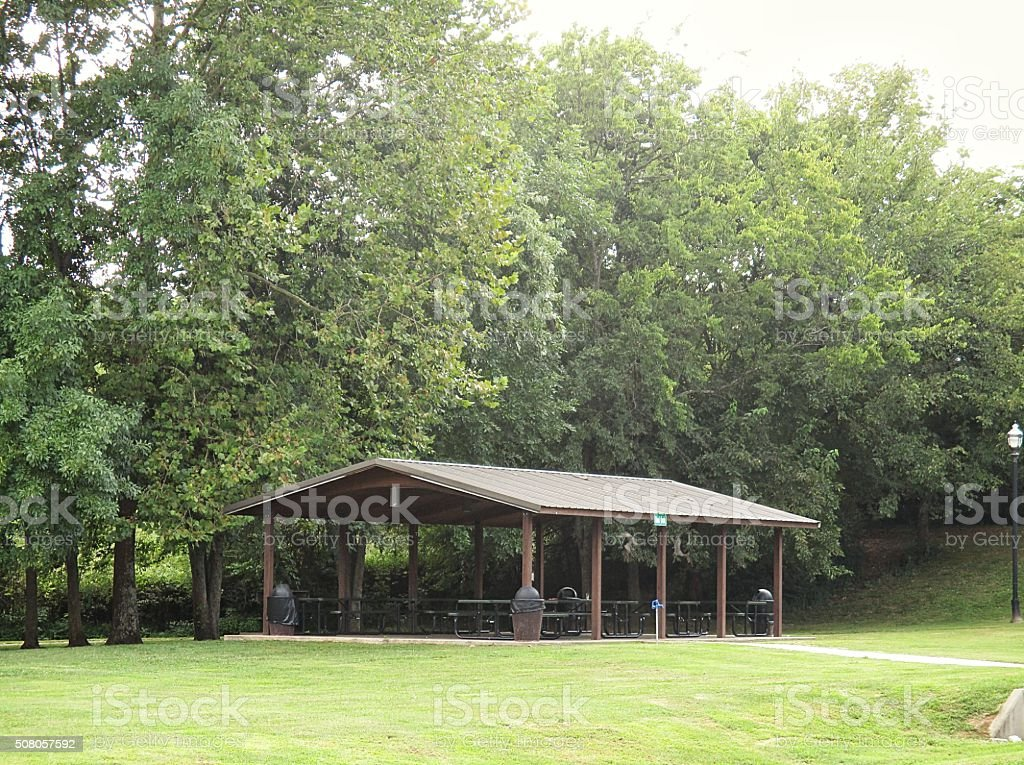 Picnic Shelter in a Park stock photo