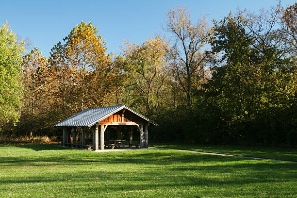 Picnic Shelter In The Clearing 1, Barbeque, Dayton, Ohio stock photo