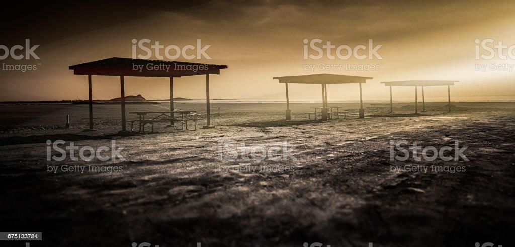 Picnic Shelters stock photo