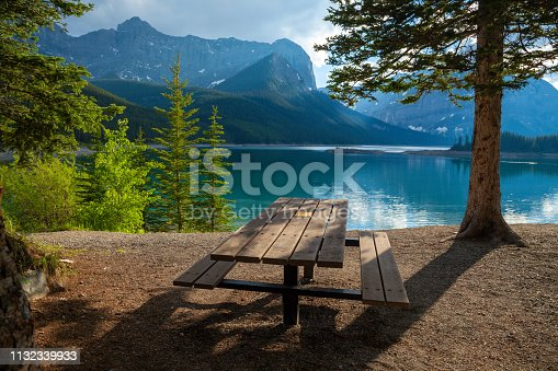 A picnic site at Upper Kananaskis Lake in the Canadian Rocky Mountains, Alberta, Canada