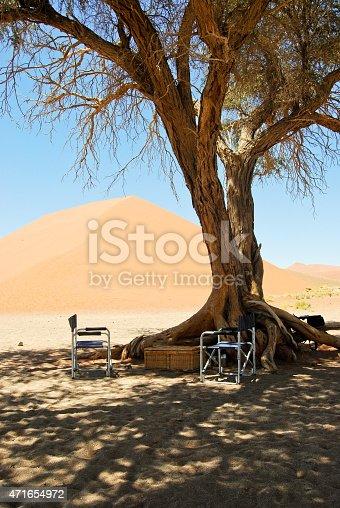 istock Picnic spot in the desert, Sossusvlei Namibia Africa 471654972