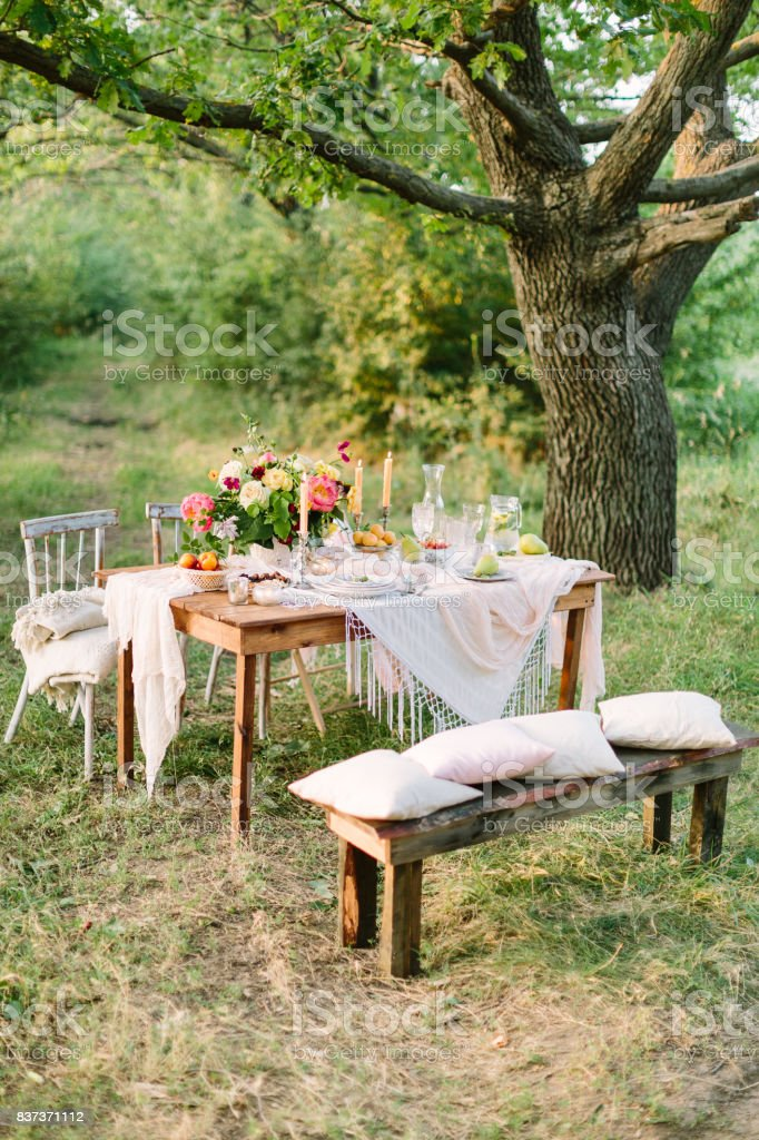 picnic summer holiday concept - festive table setting among large trees openwork tablecloth & Picnic Summer Holiday Concept Festive Table Setting Among Large ...
