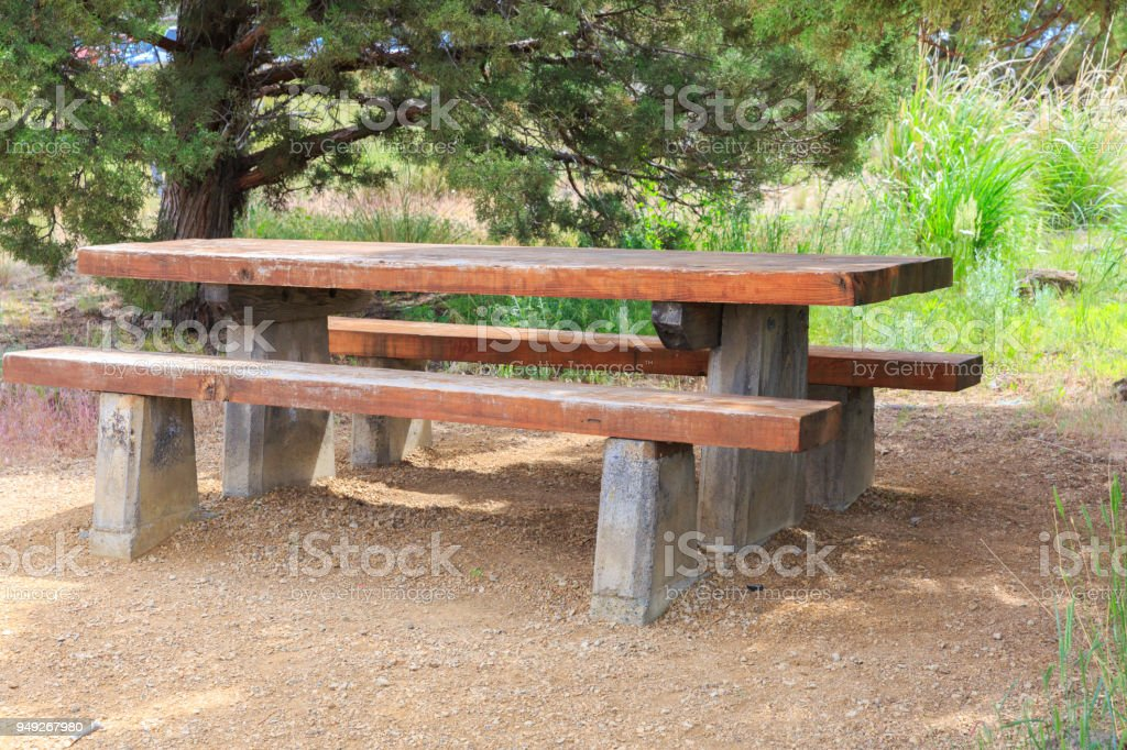 Picnic table and bench stock photo