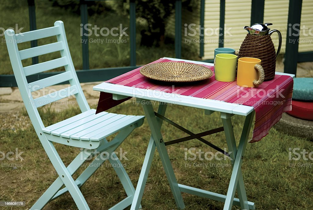 picnic table and chair stock photo