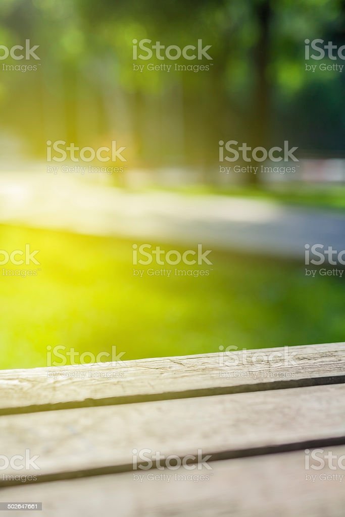 picnic table closeup in nature stock photo