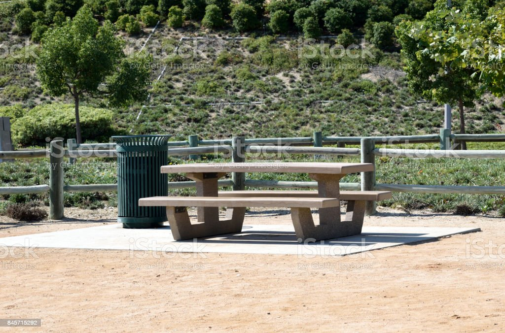 A Picnic Table in Los Angeles County stock photo