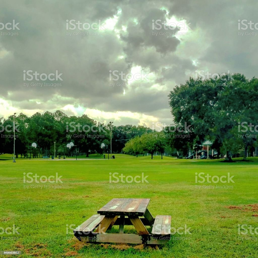 Picnic Table on a Park Lawn stock photo