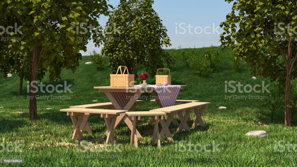 Picnic table on nature. - foto stock
