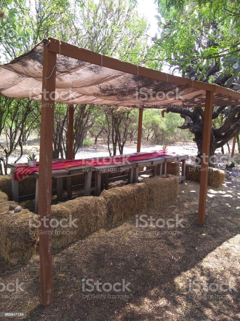 Picknicktafel - Royalty-free Architectuur Stockfoto