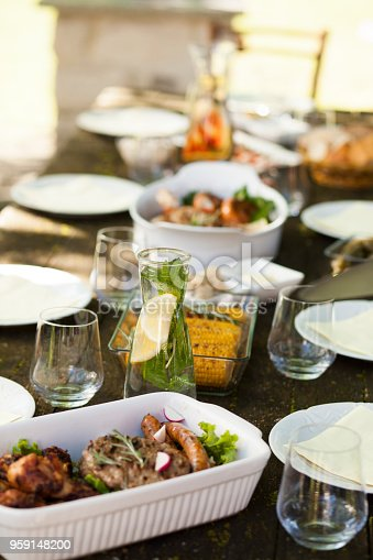 647209792 istock photo Picnic table setting with barbecue food and drinks 959148200