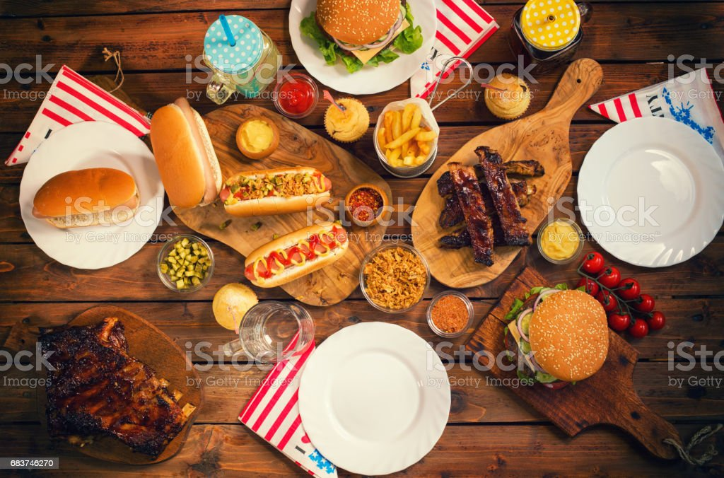 Picnic Table to Celebrate 4th of July stock photo