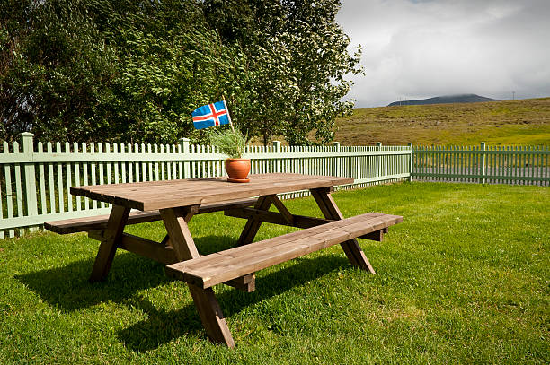 Picnic table with iceland's flag stock photo