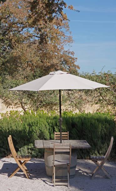 Picnic Table with Umbrella stock photo