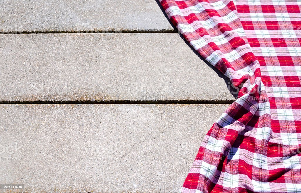 Picnic Tablecloth On The Table Stock Photo