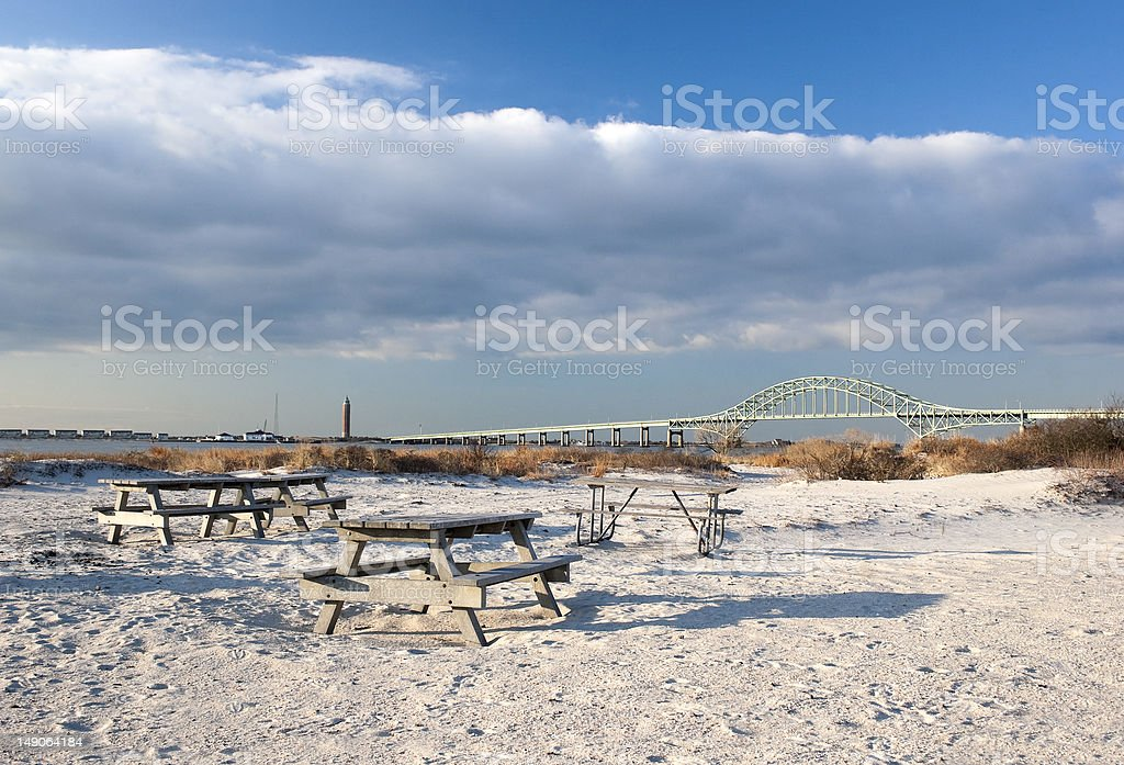 Picnic Tables and Bridge to Fire Island stock photo