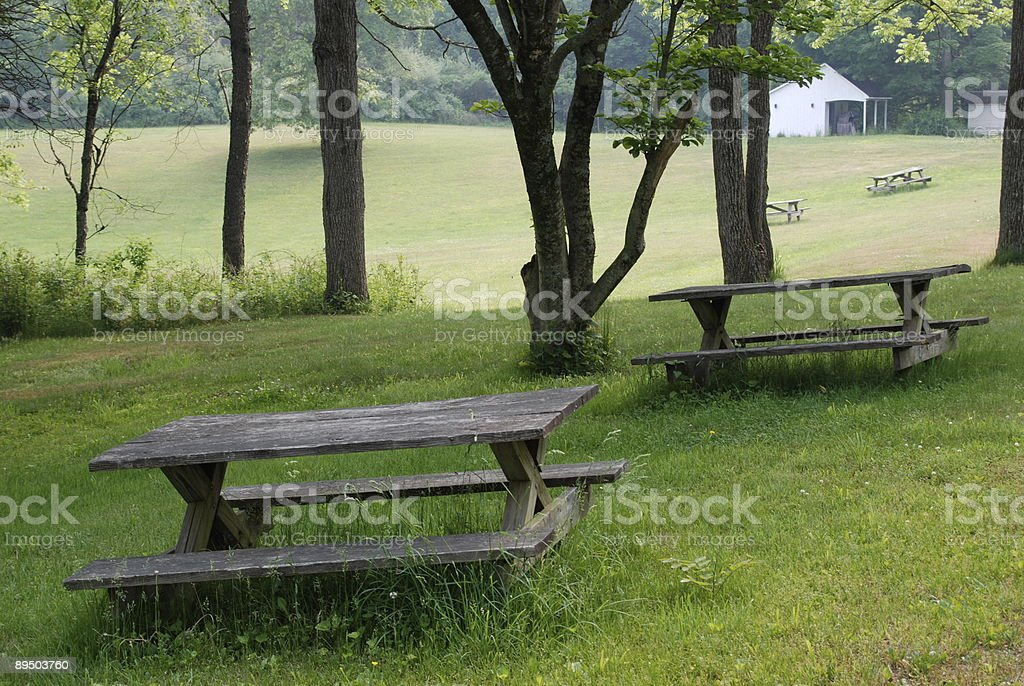 Picnic tables, field, and shed royalty-free stock photo